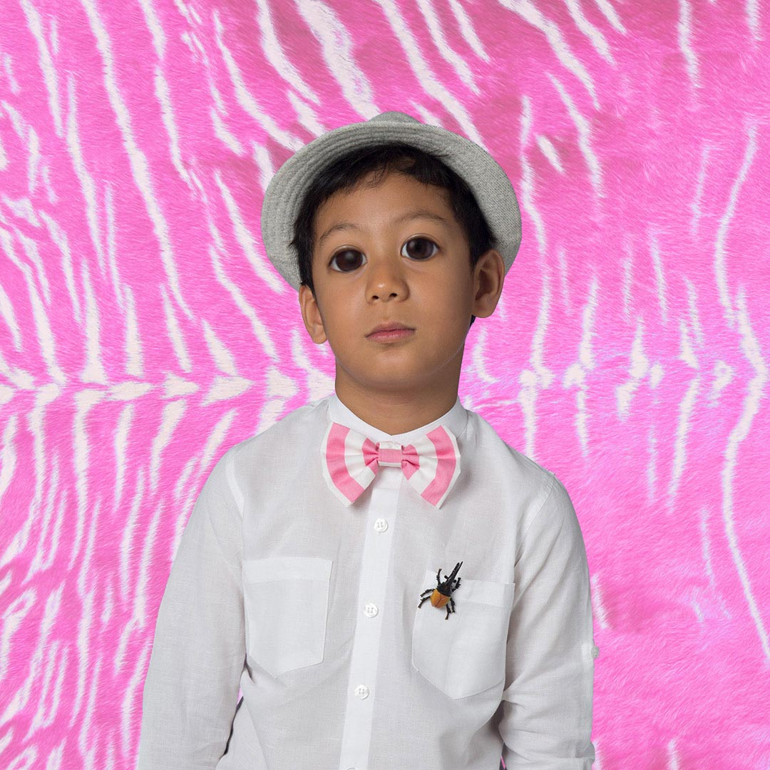 8dec3d243d Colin the button-on pink candy cane bow tie